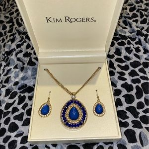 Gold and blue crystal necklace and earring set.